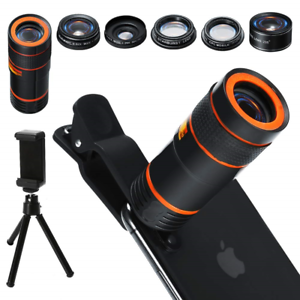 Cell-Phone-Camera-Lens-Kit-6-in-1-Universal-12x-Zoom-Telephoto-0-62x-Wide-Angle