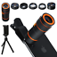 Cell-Phone-Camera-Lens-Kit-6-in-1-Universal-12x-Zoom-Telephoto-0-62x-Wide-Angle thumbnail 1