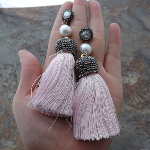 GE121013 Blanc Keshi Pearl Pink Tassel Boucles d/'oreilles