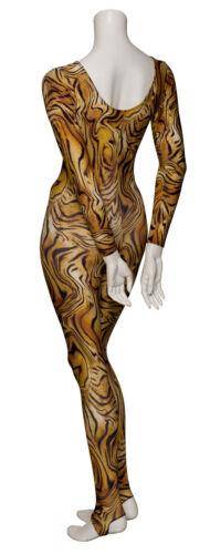 KDC012 Leopard Animal Print Long Sleeve Stirrup Dance Catsuit By Katz Dancewear