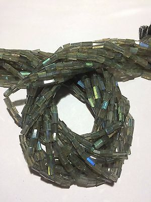 Natural Labradorite Faceted tube cylinder shape beads 3x5-4x7mm 33cm gemstone