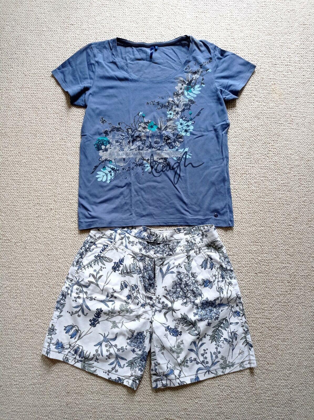 2 Teiler T-shirt von Cecil + Shorts aus Leinen-Baumwolle Mix von Esmara in M/38