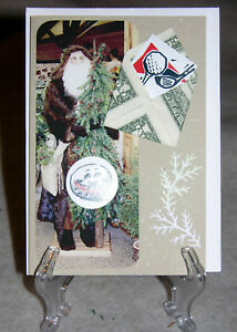 Origami-Folded-Dollar-Envelope-Handcrafted-Christmas-Card-for-Golfers