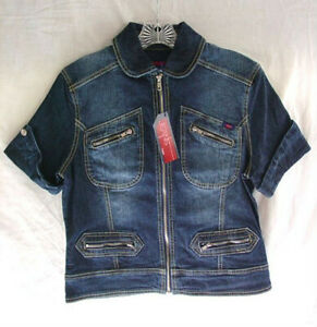 YUKA-JEANS-Denim-Jean-Jacket-Cotton-Stretch-Shirt-Top-Womens-size-Medium-NEW