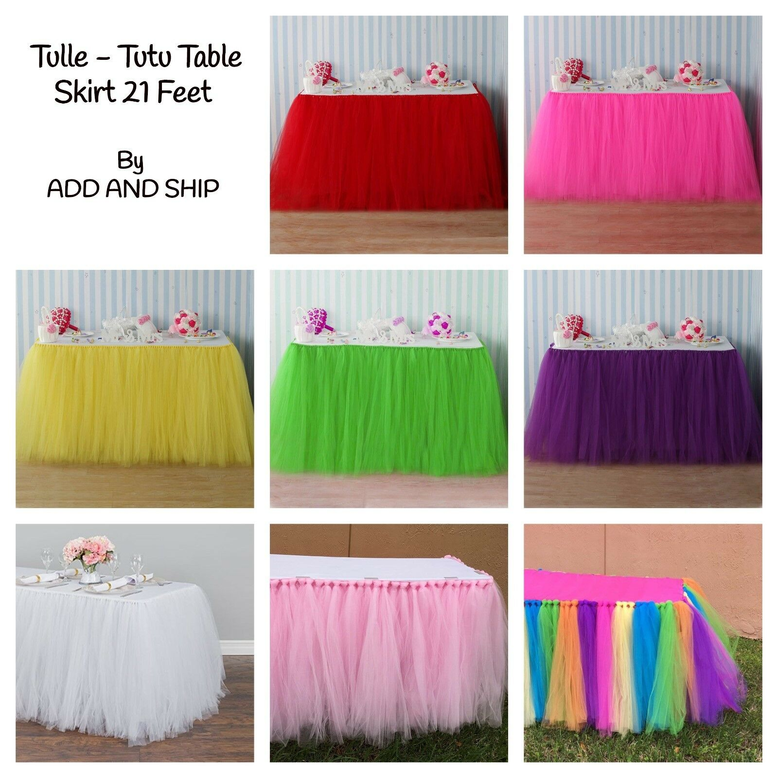 ADD AND SHIP Tulle Tutu Table Skirt 21 Feet for Wedding, Birthday, Baby Shower