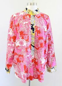 NWT J Crew Band Collar Poplin Tunic Top Blouse in Vintage Paisley Size XL Pink