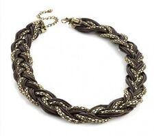 Burnt Gold Bronze Brown Retro Mesh Braided Plait Choker Catwalk Feature Necklace
