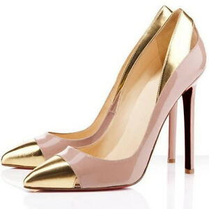76adfb9f455 Nude Gold Ladies Work Party Super High Heel Pointed Corset Pumps