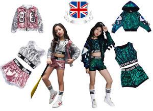 0289794cc7259 Image is loading Kids-Girls-Street-Dance-Wear-Costume-Performance-Sequins-