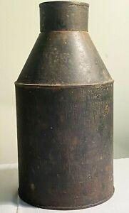Antique Tea Caddy Coffee Canister Rice Heavy Tin Cone Container Toleware Vintage