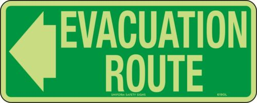 Evacuation Route Directional Left Safety Sign 350x140mm Luminous Metal