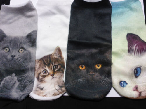Ladies Girls Summer Ankle Socks 3 D Printed Persian Chinchilla Long Haired Cats
