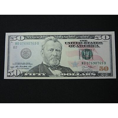 2013 $50 US DOLLAR BANK NOTE MB 07690769 B REPEATER NOTE USD UNC CU NEW YORK