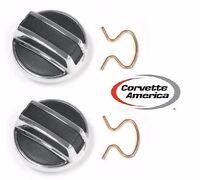 68-77 Corvette Door Lock Knob Set (pair) By Corvette America W/ Retainer Clips