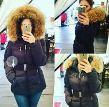 Real fur hood coat black winter belted jacket UK 16 Towie parka attentif pocket