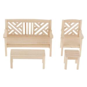 Wood Color 1//12 Dollhouse Miniature Furniture Garden Decor Bench Chair Table