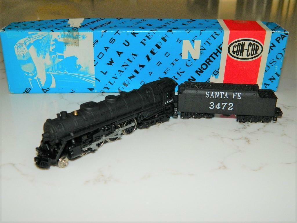 Con Cor 3002 J3A Santa Fe 'N' scale Steam Loco w tender RdVTG NOS