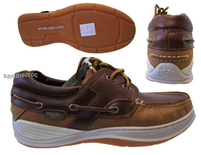 Henri Lloyd Unisex NAVIGATOR Leather Moccasin Deck Shoes Brown UK 3 EU 36 USA 4