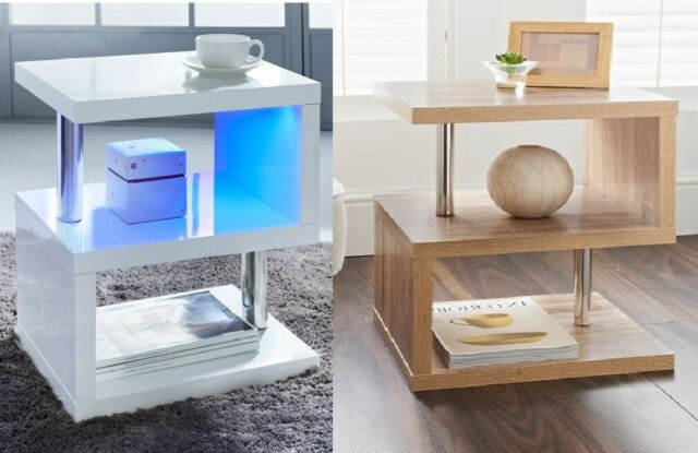 2 Tier Side Coffee Table With Led Light Living Room Decor Furniture