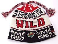 Reebok Ke61z Nhl Tassel Winter Knit Hockey Hat/beanie/toque - Minnesota Wild