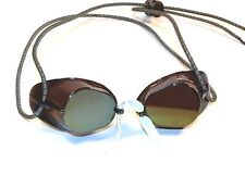 Metallic Swedish Swim Goggles w/ Bungee Strap - Antifog - Gold Mirror/Smoke Lens