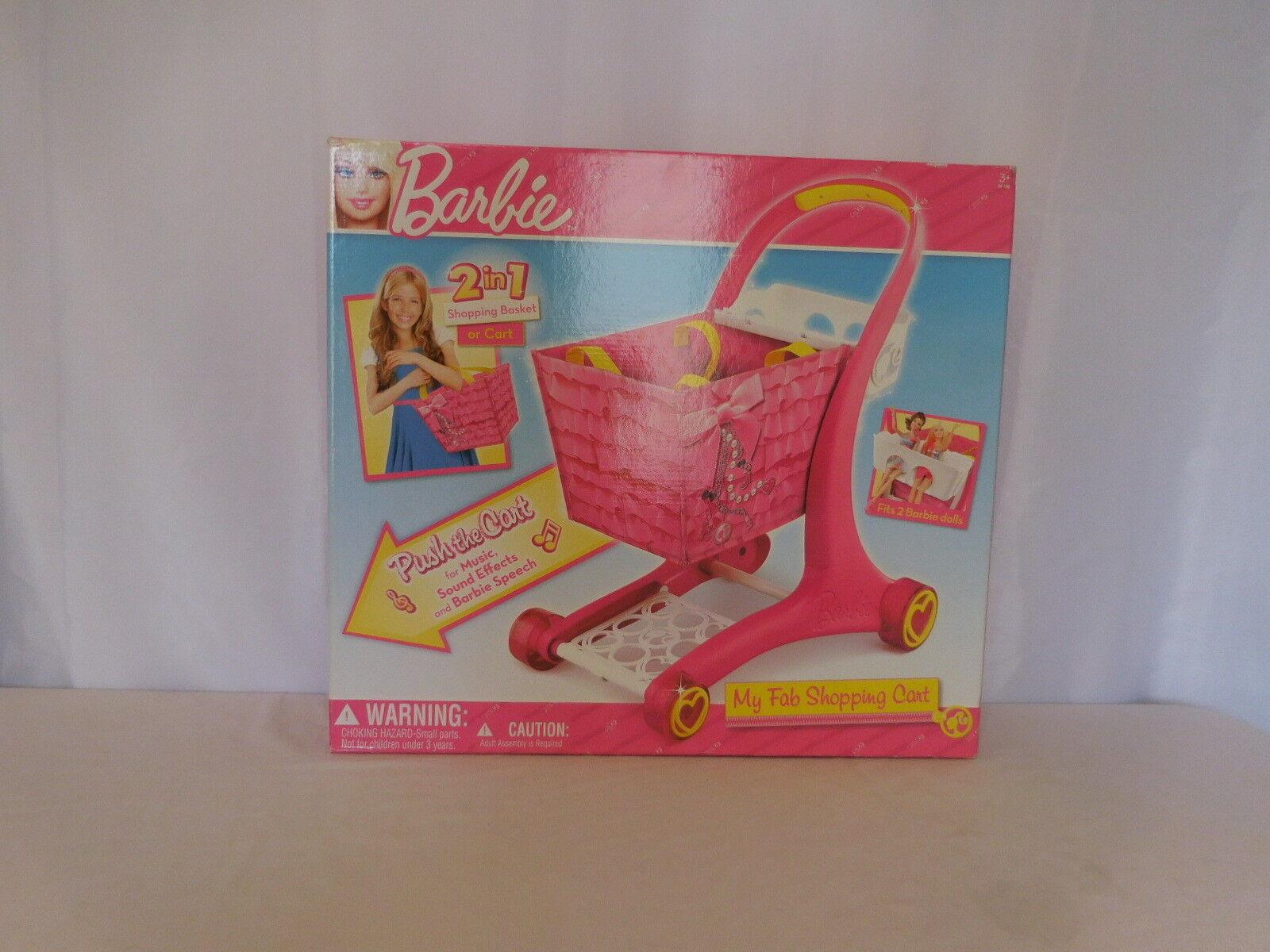 Barbie meine fab warenkorb 2 in 1 einkaufswagen oder korb push cart new in box