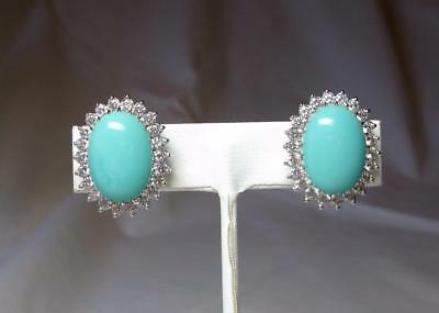 Jewelry & Watches Hearty Jackie Collins Estate Earrings Turquoise Diamond Paste Sterling Silver Celebrity Vintage & Antique Jewelry