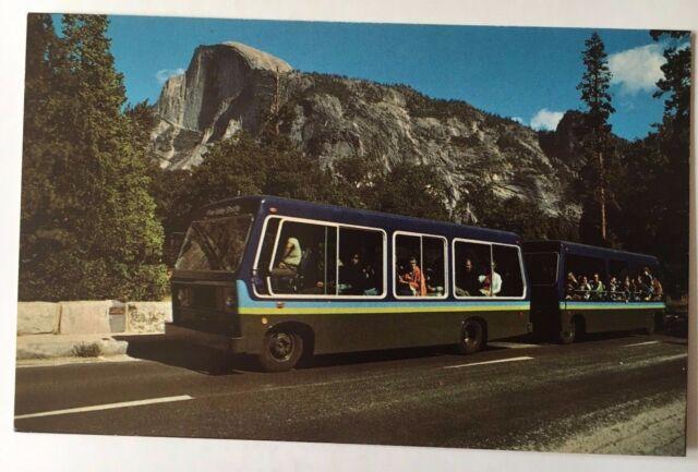 Vintage Postcard Valley Shuttle Bus Yosemite National Park Ca Mirro Krome