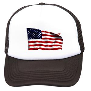 bb8e68f4a32a Trucker Hat Cap Foam Mesh Patriotic USA American America Flag | eBay