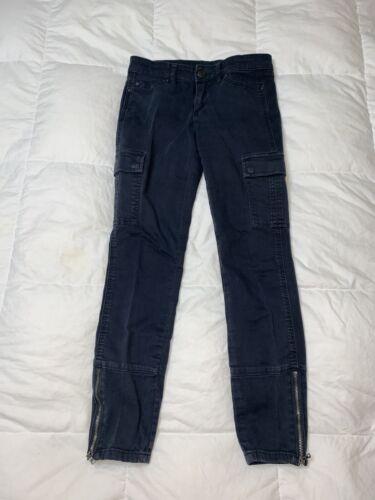 Club Monaco Women Cargo Military Pants Jeans Navy
