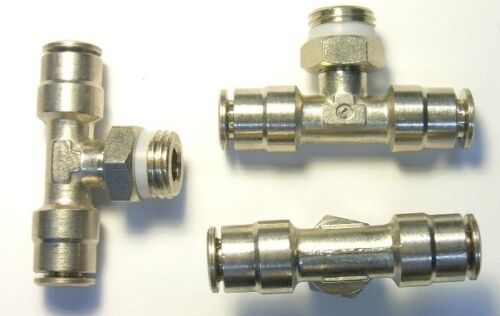 "Camozzi P6430-04-04 nickel plated 1//4/"" tube 1//4/"" pipe branch tee swivel"