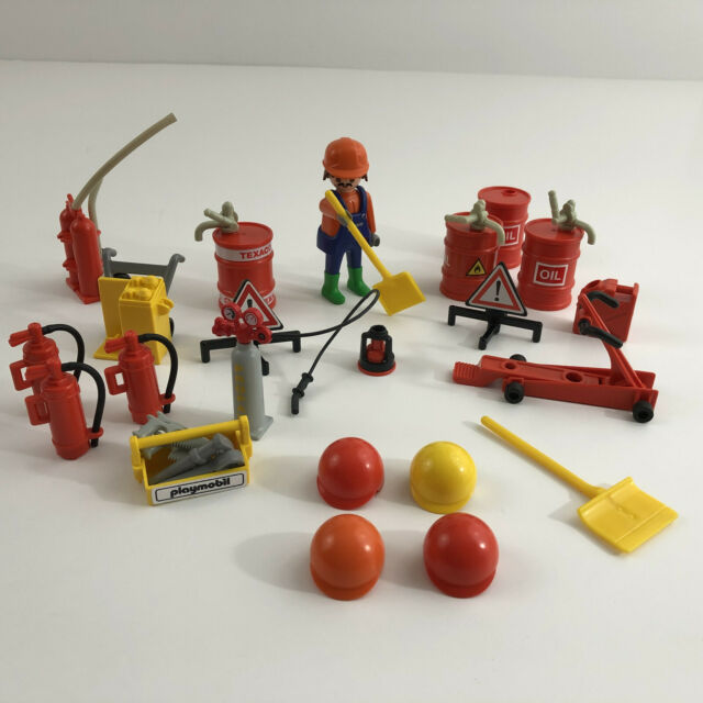 Playmobil Construction Tool Gas Car Shop Figure and Accessories Lot Vintage