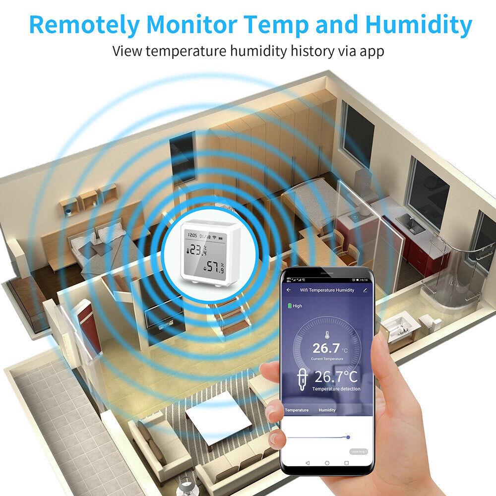 Smart WIFI Sensor Temperature Controller Hygrometer Fit Home Indoor Alexa Google