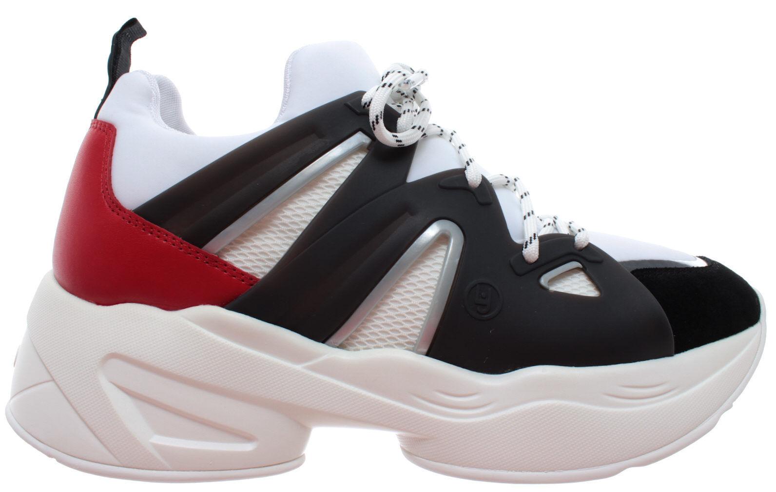 LIU JO Milano Jog 07 Sock Leather Lycra Black White Red Women's shoes Sneaker New