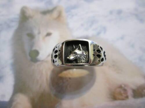 produzione artigiana Lupo testa e orme anello in Argento 925 Wolf ring