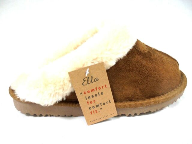acb8b1709e3be Ladies Slippers by Ella Luxury Memory Foam Insole Mule Slippers Fur ...