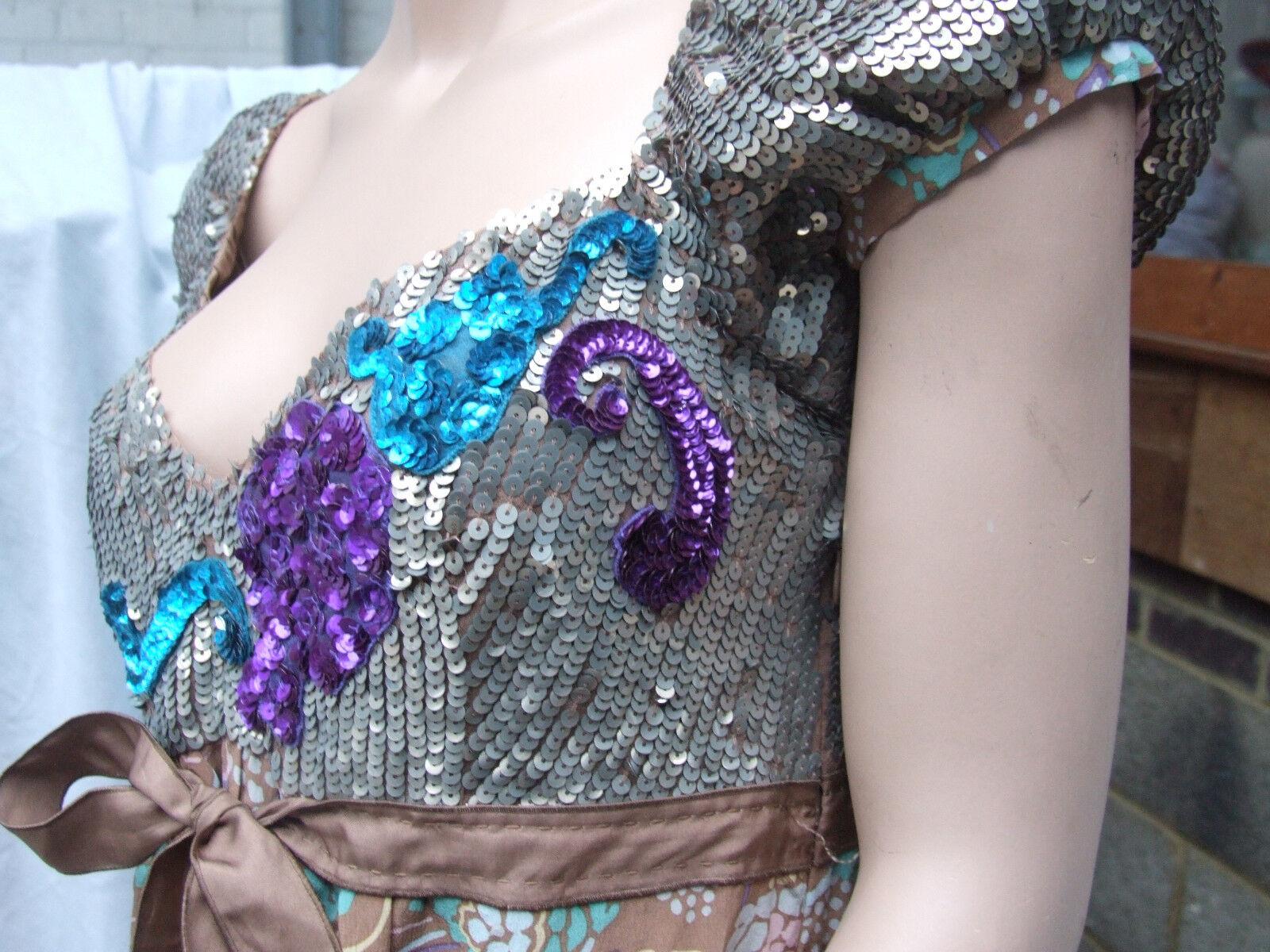 Designer Missoni Sensational Multicolour Sexy Sequin & & & Silk Dress Exquisite 44e984