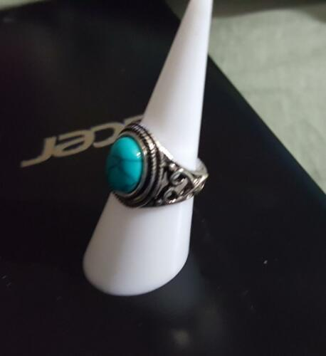 Oval Shape Turquoise and Sterling Silver Ring