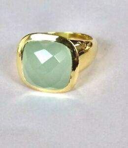 Calcedon-Ring-925-Silber-vergoldet-Gr-54