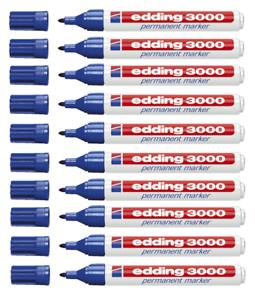 10 x Edding 3000 Permanent Filzmarker Marker Rundspitze blau 3000-003