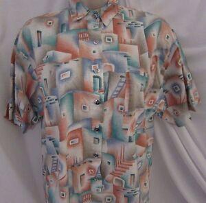 Vintage-ROUGH-RIDER-circle-T-shirt-Small-Pastel-Cowboy-Desert-Santa-Fe-Design