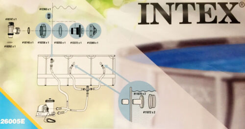 """Intex 26005E-LARGE Pool 1-1//2/"""" Fittings Set 1900-2500GPH with 2 1-1//4/"""" Strainers"""