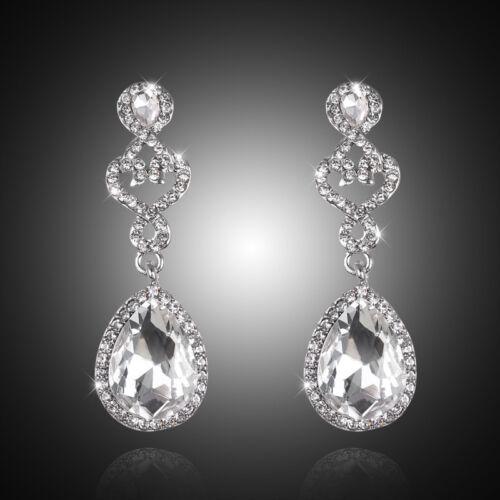 New Shiny Silver Rhinestone Crystal Teardrop Wedding Bridal Dangle Earrings Gift