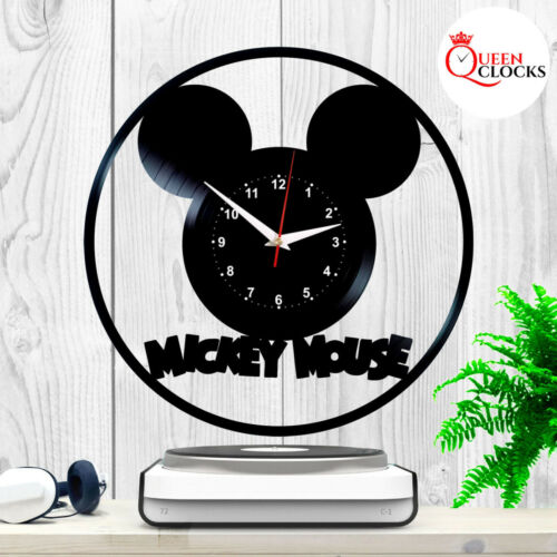 Disney Mickey Mouse Logo Vinyle Noir record Horloge Murale Cadeau Pour Enfants Bébé Décor