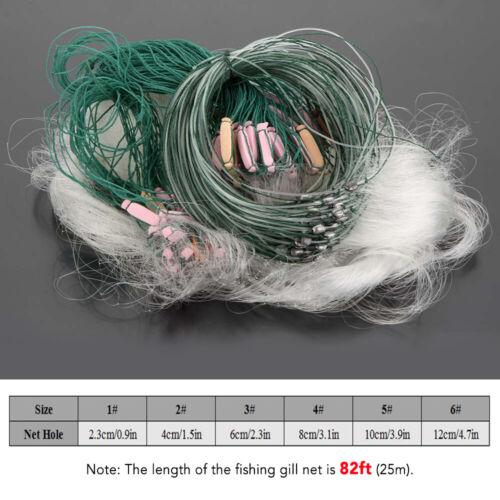 Lixada 25m 3Ebenen Monofile Stellnetz Fischernetz Kiemennetze mit Schwimmer F6U3