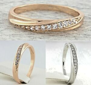 4mm-Rose-White-Gold-Plated-Stainless-Steel-Eternity-Engagement-Womens-Cubic-Ring
