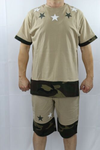 MEN/'S HIP HOP CAMO /& STAR PRINT ELONGATED T-SHIRTS S//S 4 COLORS SIZE S-3XL