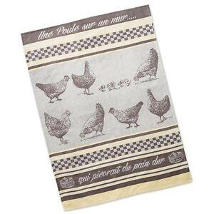 dish towel tea towel french inspired design une poule 100 rh ebay com