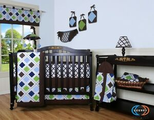 Baby Boy Boutique Blue Brown Diamond 13PCS Nursery CRIB BEDDING SET