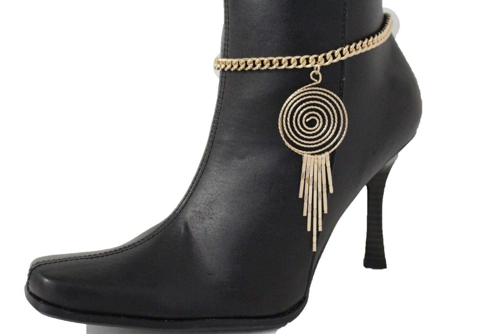 Women Gold Chain Boot Bracelet Shoe Swirl Charm Biker Bling Fringe Urban Rider